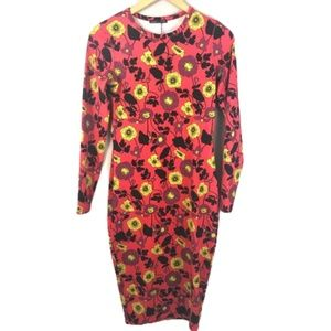 Zara Bodycon Midi Multicolor Floral Dress